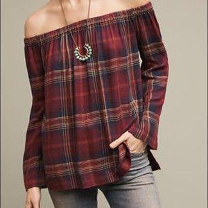 Anthropologie off the shoulder plaid shirt